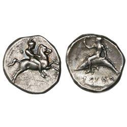 "Calabria, Tarentum, AR nomos, ca. 390-385 BC, ""boy on dolphin."""