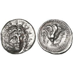 Caria, Rhodes, AR didrachm, 250-230 BC, Helios, magistrate Mnasimachos.