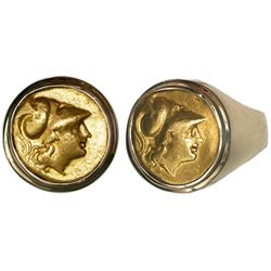 "Kings of Macedon, AV stater, Alexander III (""the Great""), 336-323 BC, mounted in 14K men's gold ring"