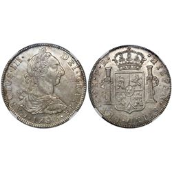 Potosi, Bolivia, bust 8 reales, Charles III, 1780PR, encapsulated NGC AU 58.