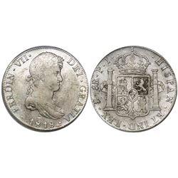 Potosi, Bolivia, bust 8 reales, Ferdinand VII, 1818PJ, encapsulated ICG EF40 details / obverse scrat