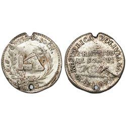 Oruro, Bolivia, 1 sol (medallic coinage), 1849JM.