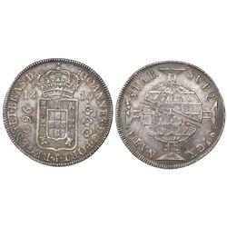 Brazil (Rio mint), 960 reis, Joao Prince Regent, 1810-R, struck over a Santiago, Chile, bust 8 reale