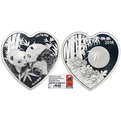China, proof 1-oz official panda issue in heart shape (Valentine issue), 2016, encapsulated NGC PF 7