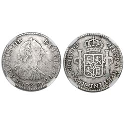 Bogota, Colombia, bust 1 real, Charles III, 1777JJ, variety with dots in mintmark and assayer, encap