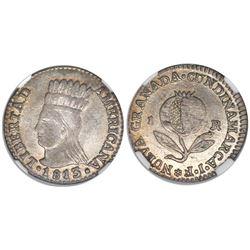 """Bogota, Colombia, 1 real, 1813JF, """"Libertad Americana,"""" encapsulated NGC MS 61."""