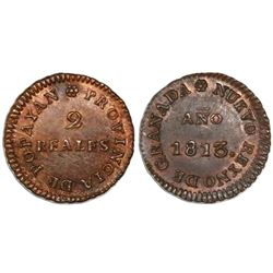 Popayan, Colombia, copper 2 reales, Ferdinand VII, 1813 (large date), encapsulated NGC MS 62 BN.