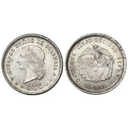 Bogota, Colombia, 5 decimos, 1870, ex-Whittier.