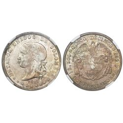 Medellin, Colombia, 5 decimos, 1886, 0.500/0.835, four stars on reverse, rare, encapsulated NGC AU 5