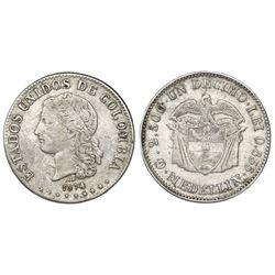 Medellin, Colombia, 1 decimo, 1874,  AB  (Barre) below bust.