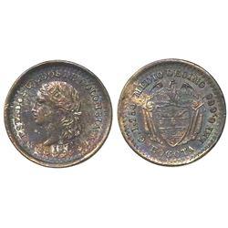 Bogota, Colombia, 1/2 decimo, 1871, fineness 0.666.