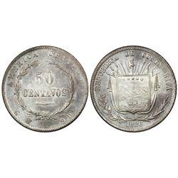 Costa Rica, 50 centavos, 1886GW.