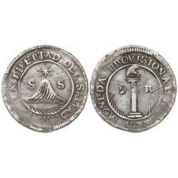 San Salvador, El Salvador, 2 reales, 1833(RL), ex-Richard Stuart.