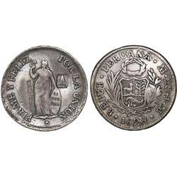El Salvador, 2 reales, volcano countermark (Type III, 1839) on a Lima, Peru, 2 reales, 1828JM, rare,