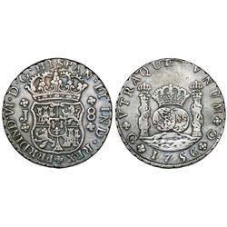 Guatemala, pillar 8 reales, Ferdinand VI, 1756J, ex-Richard Stuart.