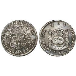 Guatemala, pillar 8 reales, Ferdinand VI, 1760P, ex-Richard Stuart.