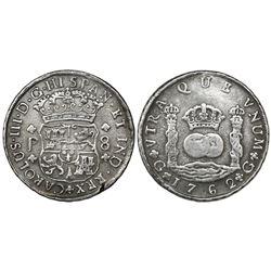 Guatemala, pillar 8 reales, Charles III, 1762P, ex-Richard Stuart.