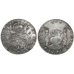 Guatemala, pillar 8 reales, Charles III, 1770P, ex-Richard Stuart.