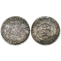 Guatemala, pillar 4 reales, Ferdinand VI, 1760P, ex-Richard Stuart.