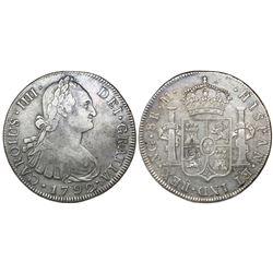 Guatemala, bust 8 reales, Charles IV, 1792M, ex-Richard Stuart.