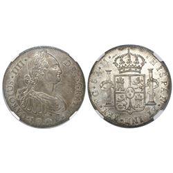 Guatemala, bust 8 reales, Charles IV, 1795M, encapsulated NGC AU 58, ex-Richard Stuart (stated insid