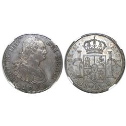 Guatemala, bust 8 reales, Charles IV, 1798M, encapsulated NGC MS 62, finest known in NGC census, ex-