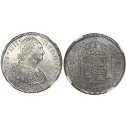 Guatemala, bust 8 reales, Charles IV, 1804M, encapsulated NGC MS 62, ex-Richard Stuart (stated insid