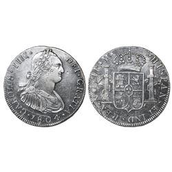 Guatemala, bust 4 reales, Charles IV, 1804M, ex-Richard Stuart.