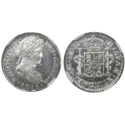 Guatemala, bust 1 real, Ferdinand VII, 1818M, encapsulated NGC MS 64, ex-Richard Stuart (stated insi