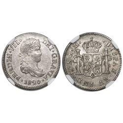 Guatemala, bust 1/2 real, Ferdinand VII, 1820M, encapsulated NGC MS 61, ex-Richard Stuart (stated in