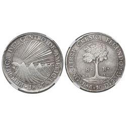 Guatemala (Central American Republic), 8 reales, 1837BA, encapsulated NGC AU 50.