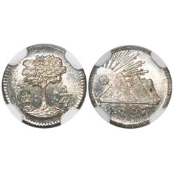Guatemala (Central American Republic), 1/4 real, 1837, encapsulated NGC MS 65.