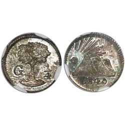 Guatemala (Central American Republic), 1/4 real, 1840/40, encapsulated NGC MS 65.