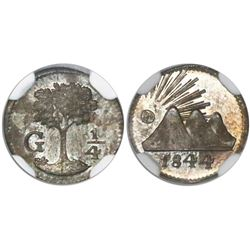 Guatemala (Central American Republic), 1/4 real, 1844, encapsulated NGC MS 65.