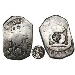Quetzaltenango, Guatemala, 4 reales, Type I countermark (1838, rare) on a Guatemala cob 4 reales 175