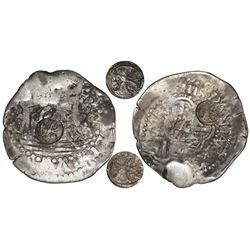 Quetzaltenango, Guatemala, 2 reales, TWO Type I countermarks (1838, rare) on a Lima, Peru, cob 2 rea