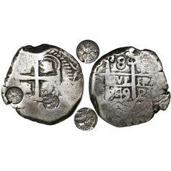 Guatemala, 8 reales, TWO sun-over-mountains countermarks (Type II, 1839) on a Potosi, Bolivia, cob 8