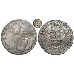 Guatemala, 8 reales, sun-over-mountains countermark (Type II, 1839) on a Cuzco, Peru, 8 reales, 1833