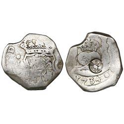 Guatemala, 4 reales, sun-over-mountains countermark (Type II, 1839) on a Guatemala, cob 4 reales, 17
