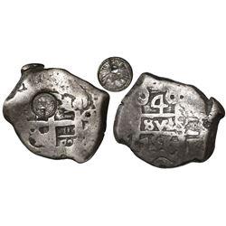 Guatemala, 4 reales, sun-over-mountains countermark (Type II, 1839) on a Potosi, Bolivia, cob 4 real