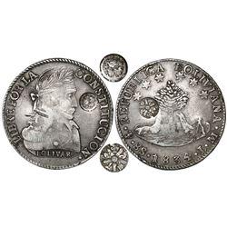Guatemala, 8 reales, sun-over-mountains double countermark (Type III, 1840) on a Potosi, Bolivia, 8