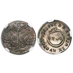 Haiti, 12 centimes, AN XI (1814), encapsulated NGC AU 55.