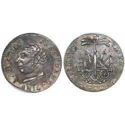 Haiti, 25 centimes, AN 14 (1817), Petion (large head), encapsulated ANACS AU 50 details / cleaned, e