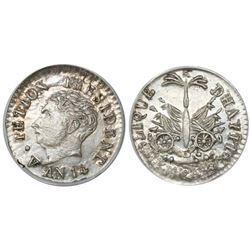 Haiti, 12 centimes, AN 14 (1817), Petion (small head), encapsulated ANACS AU 55, ex-Dana Roberts.