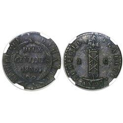 Haiti, copper 2 centimes, AN 27 / 1830, encapsulated NGC AU 50 BN.