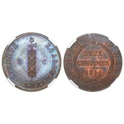 "Haiti, copper 2 centimes, AN 43 / 1846, 26 mm (""French strike""), encapsulated NGC MS 65 BN, tied for"