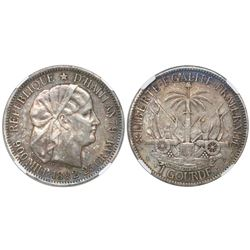 Haiti, 1 gourde, 1882, encapsulated NGC XF 45.
