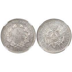 Honduras (struck in Paris), proof copper-nickel pattern 5 reales, 1870 (TASSET), rare, encapsulated