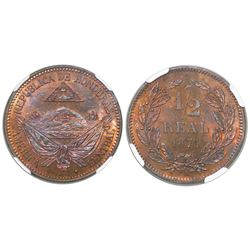 Honduras (struck in Paris), proof copper 1/2 real pattern, 1871-A (BARRE), encapsulated PF 65 RB, fi