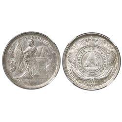 Honduras, 50 centavos, 1885, coin rotation, encapsulated NGC AU 58.
